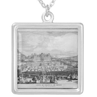 View of Chateau de Meudon Silver Plated Necklace