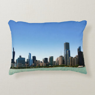 View of Chicago skyline by Lake Michigan Decorative Cushion