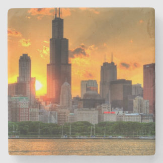 View of Chicago's skyline from  Adler Stone Beverage Coaster