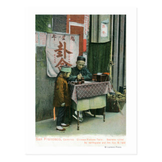 View of Chinese Fortune Teller at Desk Postcard