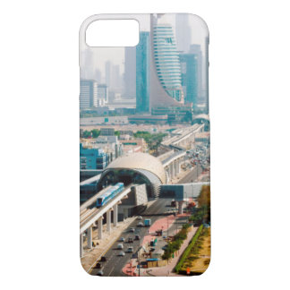 View of city metro line and skyscrapers iPhone 7 case