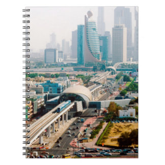 View of city metro line and skyscrapers spiral notebooks