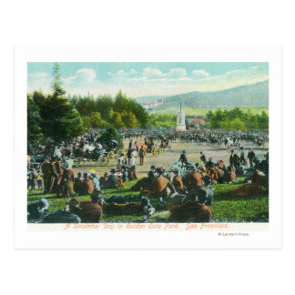 View of Crowds at Golden Gate Park in December Postcard