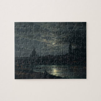 View of Dresden by Moonlight - J.C. Dahl 8x10 Jigsaw Puzzle