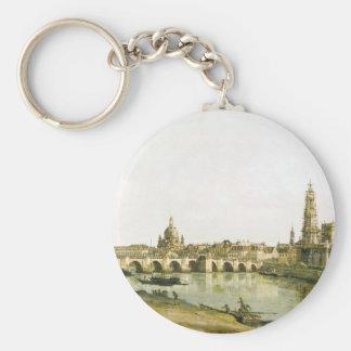 View of Dresden from the Right Bank of the Elbe Basic Round Button Key Ring