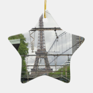 View of Eiffel Tower from Train Station, Paris Ceramic Star Decoration