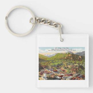 View of Estes Park Colorado Vintage Key Ring