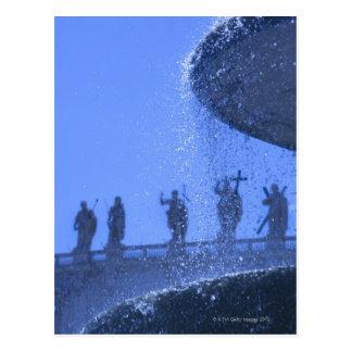 view of falling fountain waters near saint postcard