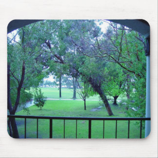 View of garden from building mouse pad
