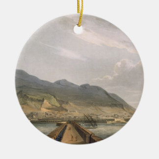 View of Gibraltar, engraved by Thomas Sutherland f Ceramic Ornament