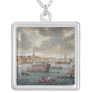 View of Gravesend with troops Silver Plated Necklace