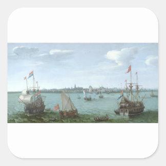 View of Hoorn: Hendrick Cornelisz Vroom Square Sticker