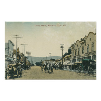 View of Horse Carriages on Castro Street Poster