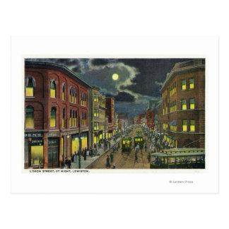 View of Lisbon Street at Night Postcard
