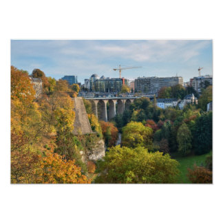 View of Luxembourg city in a calm autumn evening Poster