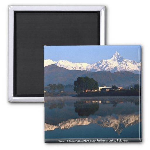 View of Macchapuchhre over Pokhara Lake, Pokhara, Fridge Magnet