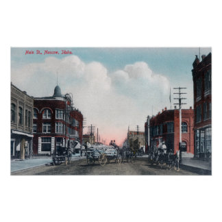 View of Main Street and Horse Carriages Poster