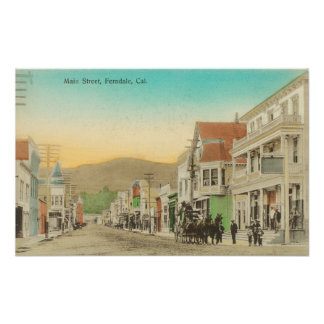 View of Main Street Horse Carriage Print