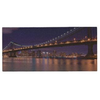 View of Manhattan bridge at night Wood USB 2.0 Flash Drive