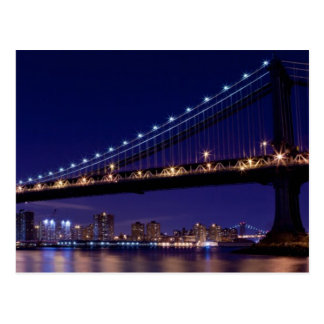 View of Manhattan bridge at night Postcard