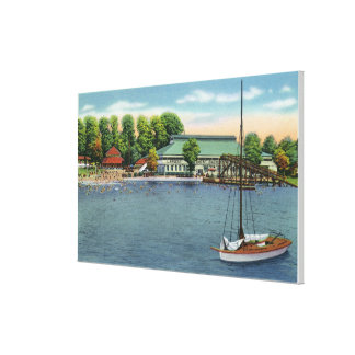 View of Midway Park Beach and Pavilion Canvas Print