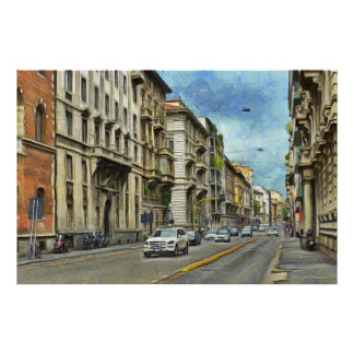 View of Milan street in the center of the city Poster
