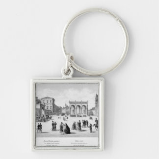 View of Munich, 1869 Silver-Colored Square Key Ring