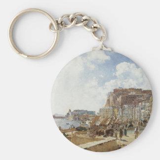 View of Naples by Rudolf von Alt Basic Round Button Key Ring