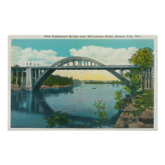View of New Suspension Bridge Poster