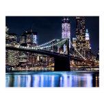 View of New York's Brooklyn bridge reflection Postcards