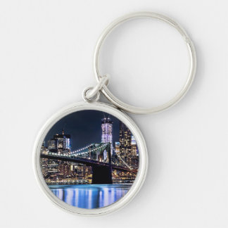 View of New York's Brooklyn bridge reflection Silver-Colored Round Key Ring