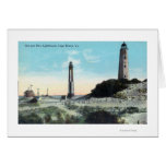 View of Old and New LighthouseCape Henry, VA Greeting Card