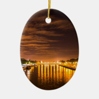view of paris france at night and the Seine river Christmas Ornament