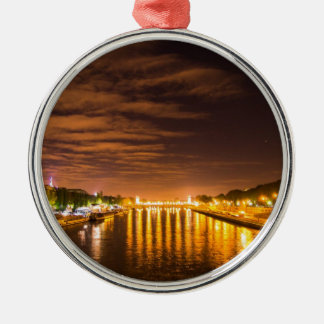 view of paris france at night and the Seine river Silver-Colored Round Decoration