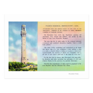 View of Pilgrim Memorial and Brief Information Postcard