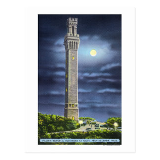 View of Pilgrim Memorial at Night Postcard