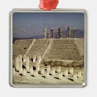 View of Pyramid B, Pre-Columbian Silver-Colored Square Decoration