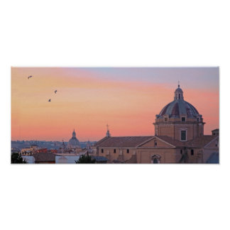 View of Rome at sunset Poster