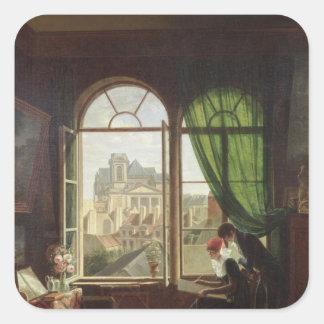 View of Saint-Eustache Church Square Sticker