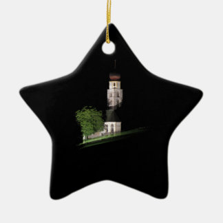 View of San Valentino church by night Ceramic Star Ornament