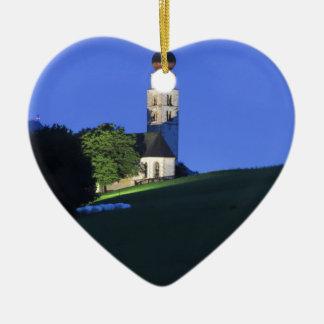 View of San Valentino church by night Ceramic Heart Ornament