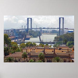 View of Seville and V Centenario Bridge Poster
