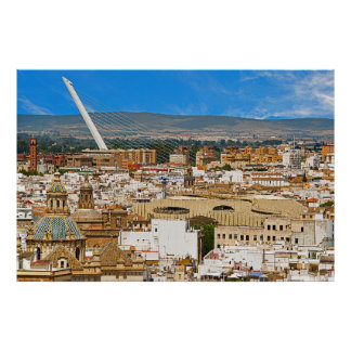 View of Seville with the bridge of Alamillo Poster
