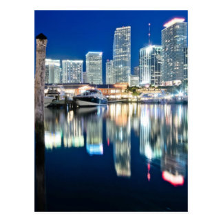 View of skyline with reflection in water, Miami Postcard