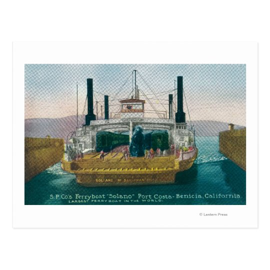 View of SP Ferry Boat Solano in Dock Postcard