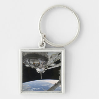 View of Space Shuttle Discovery Silver-Colored Square Key Ring
