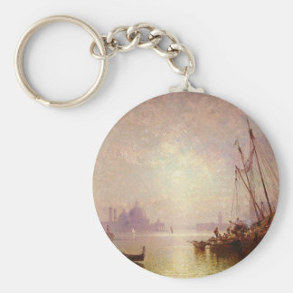 View of St George's, Venice by Franz Richard Basic Round Button Key Ring