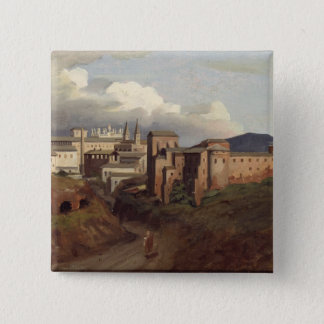 View of St. John Lateran, Rome, 1822 15 Cm Square Badge