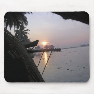 View of sunrise from a houseboat window mouse pad