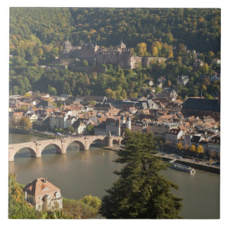 View of the Alte Brucke or Old Bridge Large Square Tile